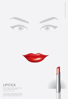 Poster cosmetische lippenstift vectorillustratie