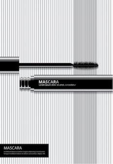 Poster cosmetische mascara met verpakking vectorillustratie