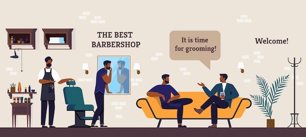 Poster de beste kapperszaak, clubbezoekers cartoon.