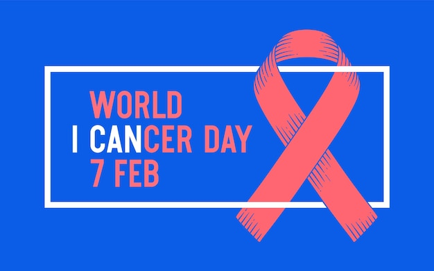 Poster en spandoek met tekst wereldkankerdag 4 februari en lint - symbool van de werelddag voor kanker. banner voor febrauray 4, bewustzijnssymbool wereldkankerdag. klassieke afbeelding.