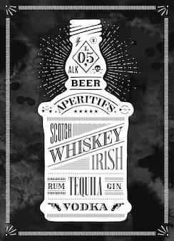 Poster fles alcohol met hand getrokken belettering