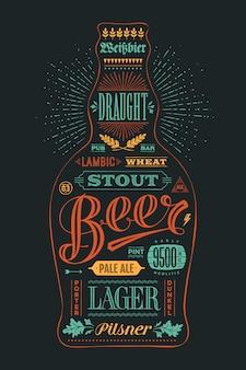 Poster flesje bier met hand getrokken belettering