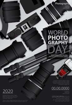 Poster fotografie dag ontwerpsjabloon illustratie