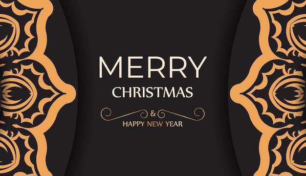 Poster gelukkig nieuwjaar en vrolijk kerstfeest in zwarte kleur met winterornament.