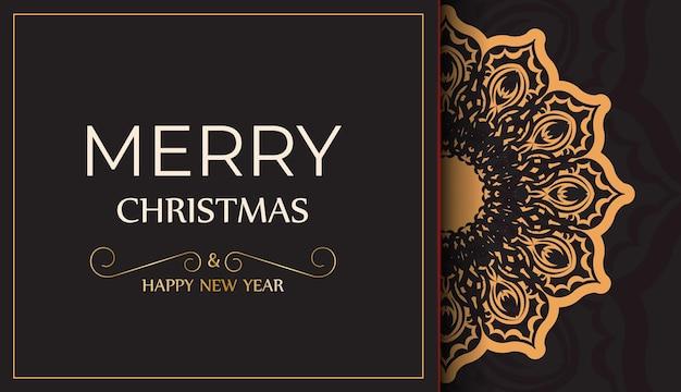 Poster gelukkig nieuwjaar en vrolijk kerstfeest in zwarte kleur met winterpatroon.