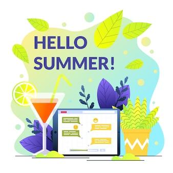 Poster geschreven hallo zomer op achtergrond cocktail