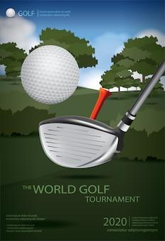 Poster golf champion template design illustratie