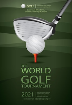 Poster golf kampioen sjabloonontwerp illustratie