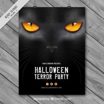 Poster halloween van katachtige blik