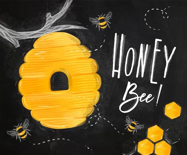 Poster honingbij krijt