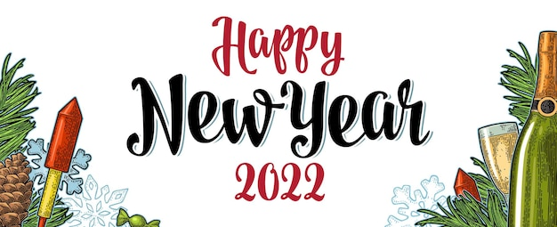 Poster horizontale happy new year 2022 kalligrafie belettering. vector vintage kleur gravure