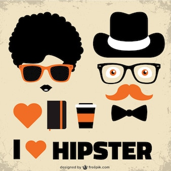 Poster ik hou hipster stijl