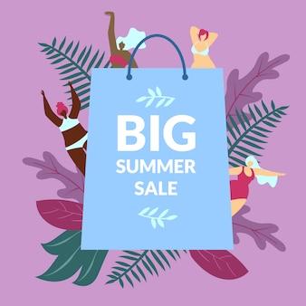 Poster illustratie inscriptie grote zomer verkoop.