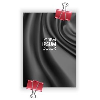 Poster in a4-formaat met gladde elegante zwarte zijde of satijn kan als achtergrond voor uw ontwerp worden gebruikt