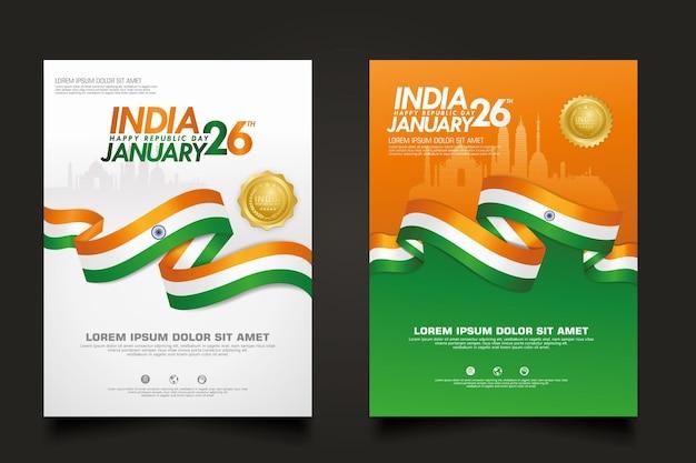 Poster india happy republic day-sjabloon instellen.