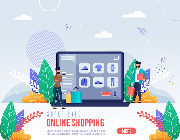 Poster inscriptie super verkoop online winkelen.