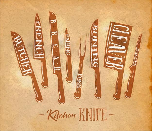 Poster keuken vlees snijmessen slager