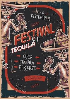 Poster labelontwerp met illustratie van mexicaanse muzikant