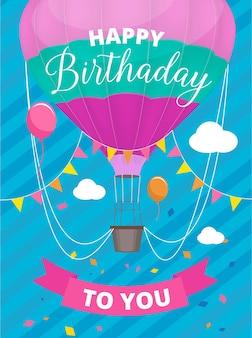 Poster luchtballonnen. verjaardagsfeestje uitnodiging plakkaat met gekleurde luchtballon met mandje plakkaat