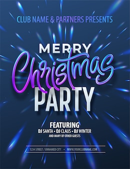 Poster merry christmas party met holografische inscriptie op christmas fong met iriserende reflecties.