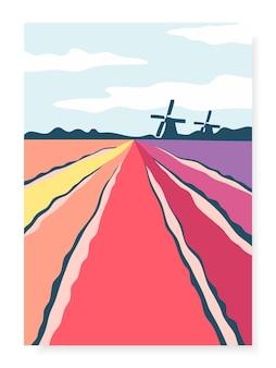 Poster met abstracte handgetekende tulpenvelden en molens
