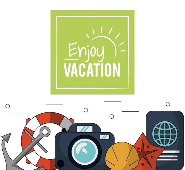 Poster met anker en drijvende hoepel en camera en paspoort