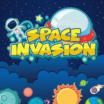 Poster met astronaut en zonnestelsel achtergrond
