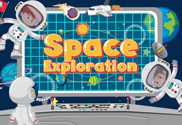 Poster met astronauten die in de controlekamer vliegen
