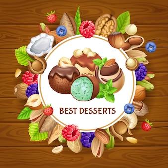 Poster met beste desserts met noten en tuinbessen