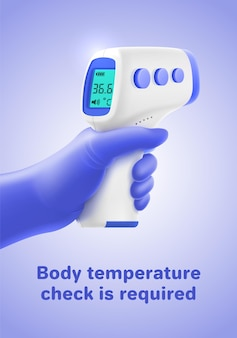 Poster met body temperature check vereist typografie Premium Vector