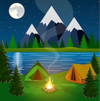 Poster met camping met kampvuur