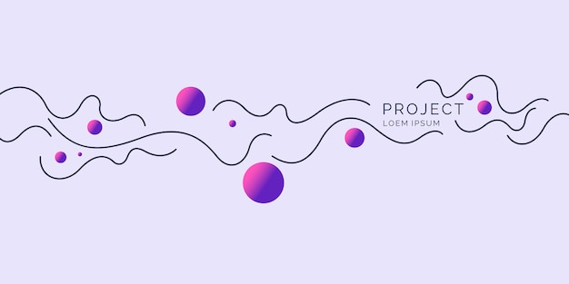 Poster met dynamische golven illustratie minimale vlakke stijl
