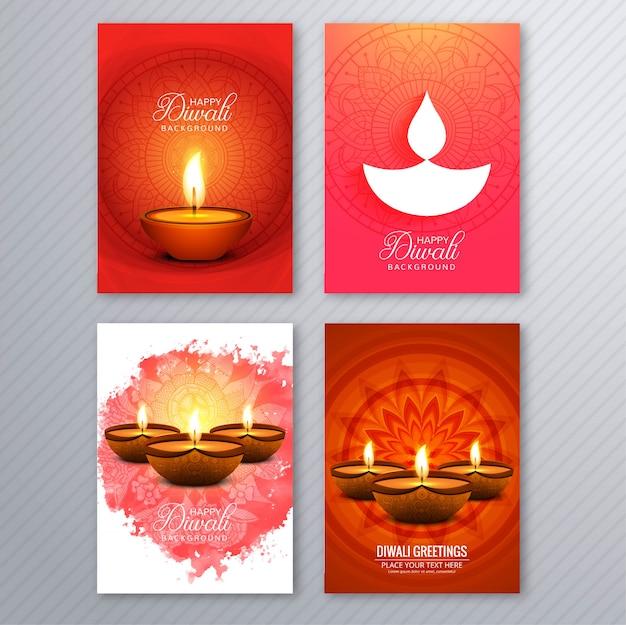 Poster met een diya voor diwali kleurrijke flyer sjabloon