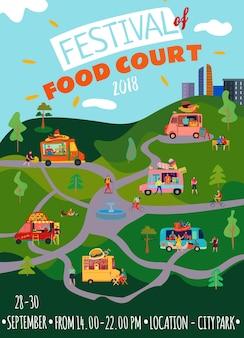 Poster met foodtrucks