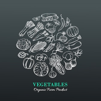 Poster met hand getrokken groenten