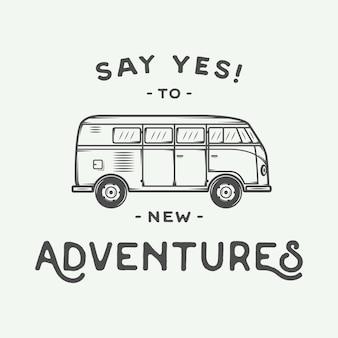 Poster met hippiebusje