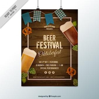 Poster met houten achtergrond voor oktoberfest
