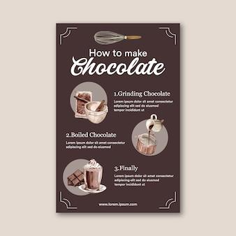 Poster met instructies voor het maken van chocolade