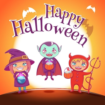 Poster met kinderen in kostuums van heks, vampier en duivel voor happy halloween-feest. illustratie op oranje achtergrond met volle maan. voor posters, banners, flyers, uitnodigingen, ansichtkaarten.
