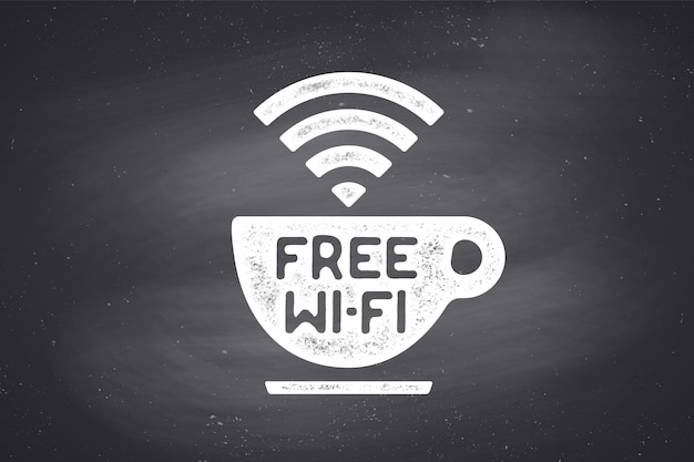 Poster met kopje koffie en tekst gratis wifi