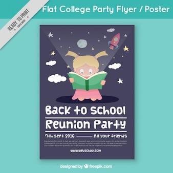 Poster met lachende student voor terug naar school