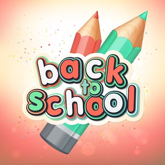 Poster met letters terug naar school. realistische potloden, kleurrijke letters.