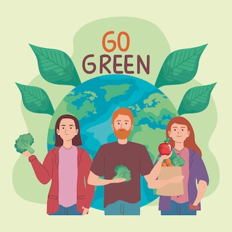 Poster met mensen en groenten
