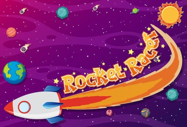 Poster met raketracer in de ruimte