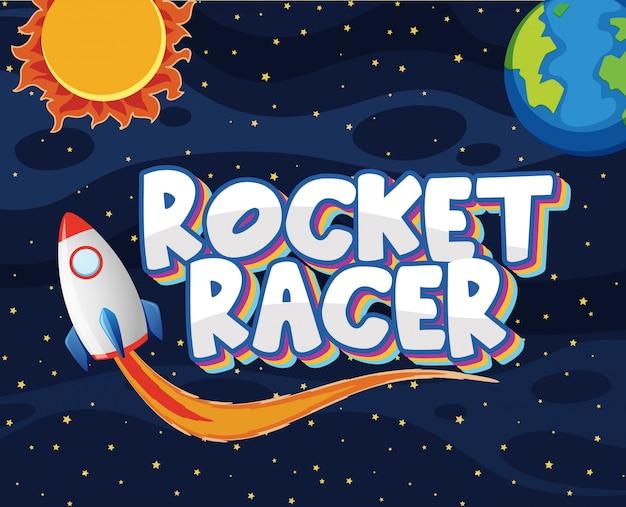 Poster met raketracer in het donkere universum