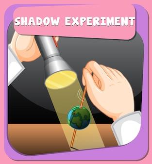 Poster met schaduwwetenschappelijk experiment