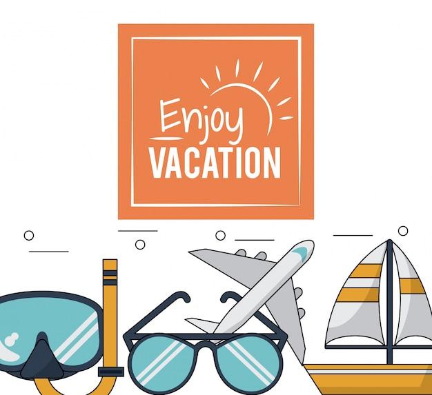 Poster met snorkel en glazen en vliegtuig en boot