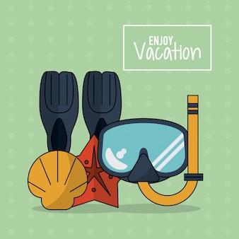 Poster met snorkeluitrusting en zeestershell
