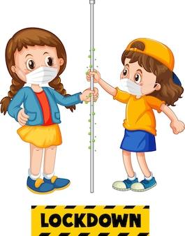 Poster met stripfiguur van twee kinderen houdt geen sociale afstand met lockdown-lettertype op wit wordt geïsoleerd