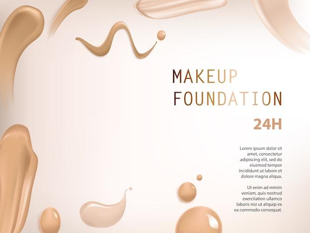 Poster met textuur van uitstrijkjes van vloeibare foundation